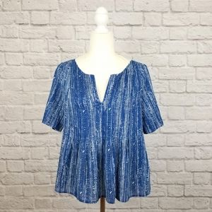 Maeve Anthro blue white print short sleeve top